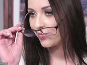 Beautiful young secretary Carolina June is impaled on hard and meaty boss's dick