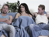 Brunette hottie Valentina Nappi gives interview before threesome scene