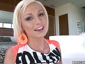 Shiny blonde cutie Rikki Six makes a puddle with cum out of her pussy