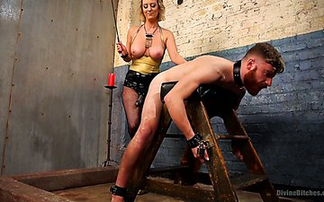 Slutty mistress in fishnets Cherry Torn fucks one dude in his anal hole