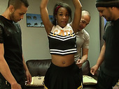Three hot blooded dudes fuck sex-hungry ebony cheerleader Stacy Greene