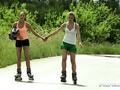 Sexy roller babes Alexis Crystal and Vicky make love outdoor