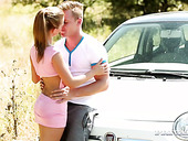 Dude fucks his naughty girlfriend Bella right on the car hood