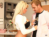 Big tittied blonde Brooke Haven gives titjob and gets rammed