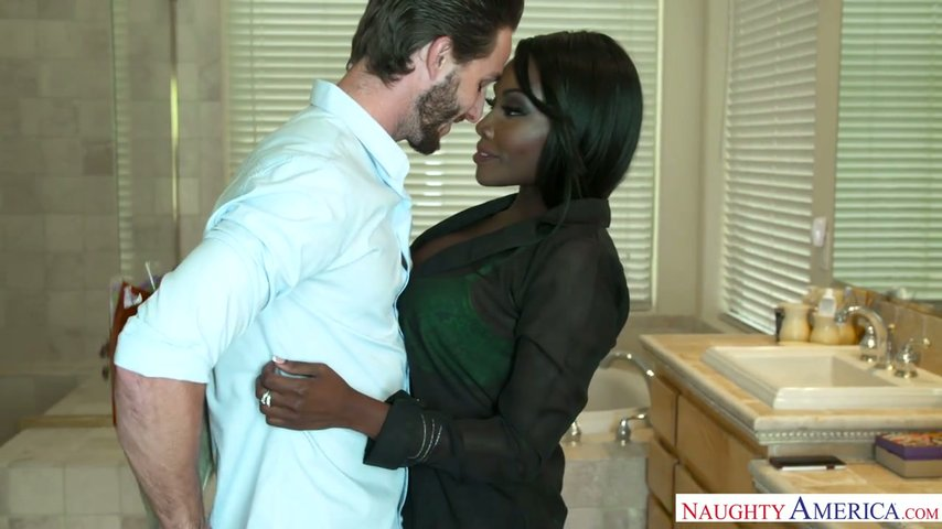 Black chick Osa Lovely takes big white dick in her hell working twat
