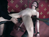 Restrained leggy bitch Ashley Lane is punished in the red bdsm room