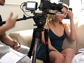 Sexy porn model Adriana Chechik gives an interview after girl on girl scene