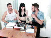 Two bisexual dudes fuck sex-appeal brunette Charlotte Sartre