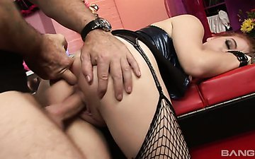 Red head in fishnets Ruby Reds is fucked hard by one kinky dude