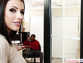 Whorish office chick Adriana Chechik is fucked by BBC right on the table