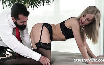 Hottie in stockings Sicilia is fucked hard doggy and cowgirl styles