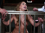 Sex-hungry dudes fuck sex-appeal chick in cage Carter Cruise
