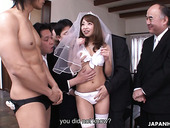 Several dudes fuck sweet looking Asian bride Mirei Oomori