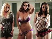 Curvy bitch Alison Tyler and her nasty girlfriends take off clothes