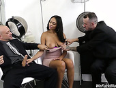Two hot blooded dudes fuck one slutty chick Bethany Benz