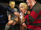 Ebony babe Jessica Creepshow is fucked by several dudes in masks
