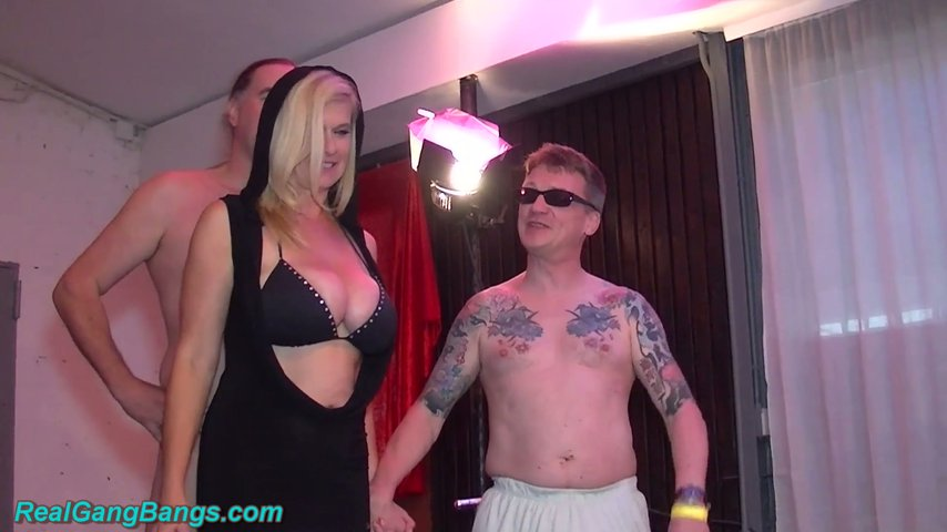 Bitch with pierced pussy Marina Montana is fucked by several studs