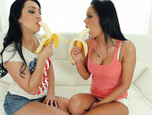 Sensual lesbian Rozalina Love is finger fucking pretty hot girlfriend