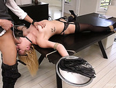 Crucified blonde Summer Day gets her face fucked before crazy anal pounding