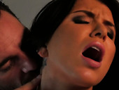 Lewd brunette Romi Rain takes a huge load of cum in her mouth