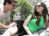 Long haired nerdy chick in glasses Jay Taylor is fucked outdoor
