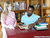 Cute white teen Dolly Leigh hooks up with her black tutor