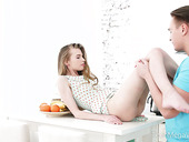 Charming teen Adel Bye is making love with her BF on the kitchen table