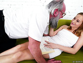 Sizzling young blonde Kiki Cyrus is making love with one old fart