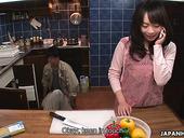 Kinky Asian housewife Nozomi Hazuki gives a blowjob to one kinky plumber