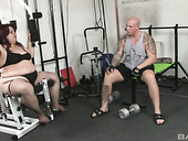 Fat chick Timycat enjoys having quickie with bald headed fitness instructor