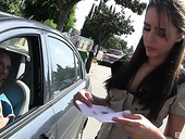 Leggy whorish chick Ella Milano hooks up with one kinky driver