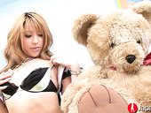 Japanese chick Hatsuka Kobayashi examines her hairy muff with different sex toys