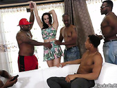 Posh white chick Chanel Preston is fucked by several sex-crazy black guys
