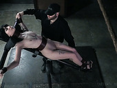 Belted and restrained bitch Charlotte Sartre gets her pussy punished
