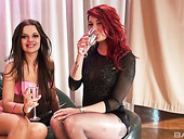 Two swanky bitches enjoy toying each others sweet looking cunts