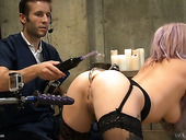 Kinky professor is testing his new sex machine on sex-hungry harlot Vyxen Steel