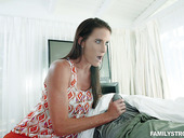 Seductive slender Sofie Marie is jerking off hard dick and gets her slit rammed