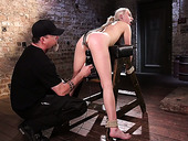 Kinky pervert punishes hairy pussy of tied up bitch Cadence Lux