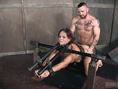 Two sex-hungry soldiers fucks restrained busty milf Syren De Mer
