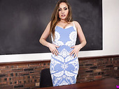Spoiled busty teacher Sophia Delane strips and masturbates