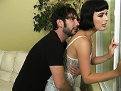 Bitchy brunette Olive Glass gets her slit rammed after a steamy blowjob session