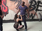 Swanky bitch in fishnets Henessy is fucked by three well endowed black bullies
