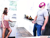 Stepsister Carolina Sweets caught her stepbrother sniffing her panties and jerking off his hose
