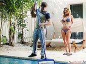Sex-hungry busty milf Janna Hicks seduces kinky pool boy