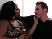 Black BBW Layton Benton gets her muff fucked by hot blooded white stud