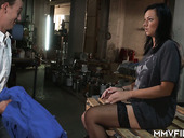Randy chick in stockings Sina Velvet gets intimate with her BF in the workroom