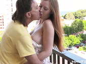 Attractive red haired babe Linda Sweet is making love with her elder lover