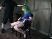 Green haired whore Paige Pierce gets her pussy fucked in the basement