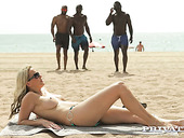 Super whorish milf Julia Pink hooks up with three hot blooded black guys