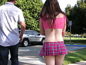 Tasty looking chick in short skirt Casey Calvert gets her pussy fucked and creampied